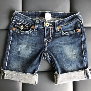 True Religion Cuffed shorts with raw hem size 29