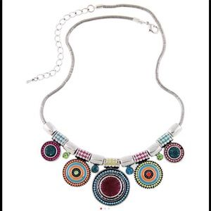 Bohemian vintage multi-colored statement necklace