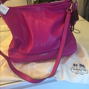 Large Bright pink coach bag.  NWT!