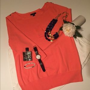 Light Coral 3/4 Sleeve Boatneck Sweater