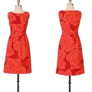 anthropologie tabitha red flower dress