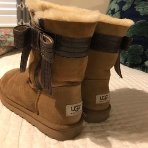 Tan uggs with brown bow