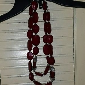 Burgundy Red & Silver Rhinestone Necklace