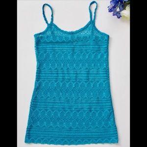 BKE turquoise see thru tank top