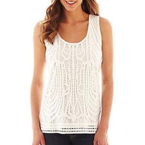 ANA White Crochet Front Sleeveless Top
