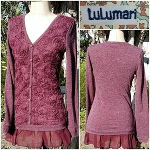 Anthro Lulumari Chiffon Flowers V-neck Sweater