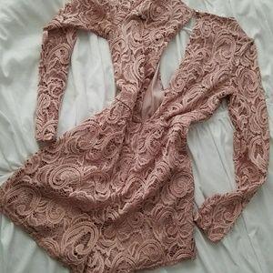 Sexy Pink/Mauve Short Lace Romper Dress