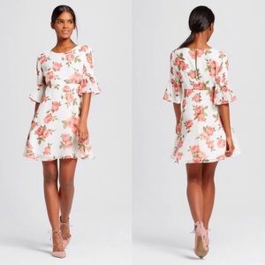 White bell sleeve floral fit & flare dress