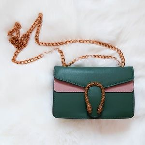 Pink & Green Faux Leather Chain Bag