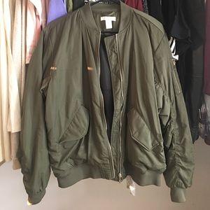 H&M olive bomber jacket