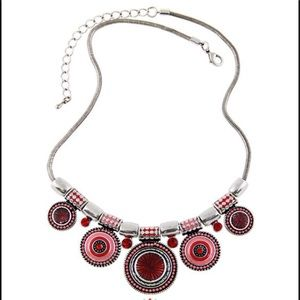 Bohemian style statement necklace in shades of red