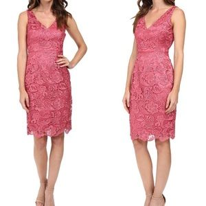 Adrianna Papell Coral Lace Cocktail Dress