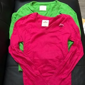 Lot of 2 hollister Abercrombie V neck sweaters Med