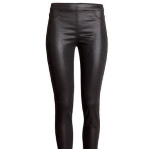 H&M Faux leather waxed leggings