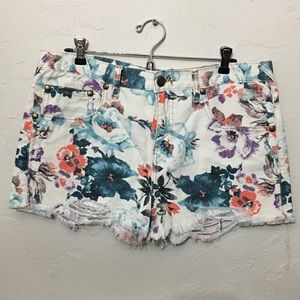 Free People - floral jean shorts