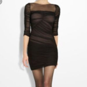 New bcbg black nude dress size small