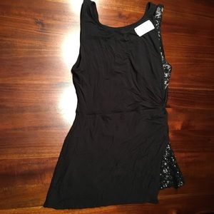 Brand New With Tags Bailey 44 Black Sequin Top M