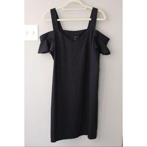 Black Cold Shoulder Shift Dress