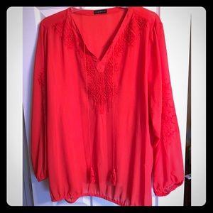 Lane Bryant Red Peasant Top Size 26/28