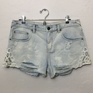 Free People - light denim jean shorts