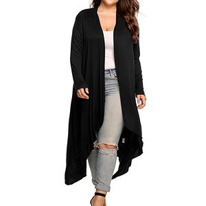 Open Drape Front Long Maxi Cardigan Plus Black