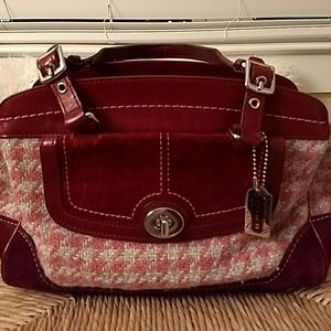 Burgundy and Grey Houndstooth Coach Purse