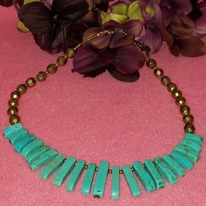 turquoise necklace with fashion gold beads