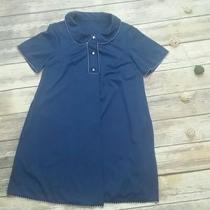 Vintage silky blue scallop edge nightgown top