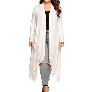 Open Drape Front Long Maxi Cardigan Plus White