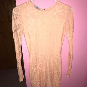 Tobi light pink lace dress