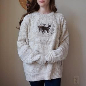 Cozy Deer Embroidered Cotton Sweater Size XL