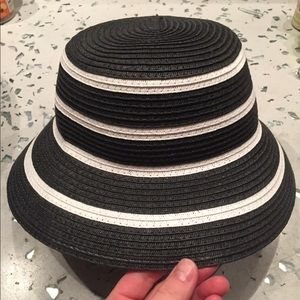 Gray and white striped hat