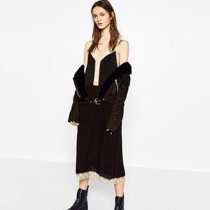ZARA New Black Dress with Ecru Lace