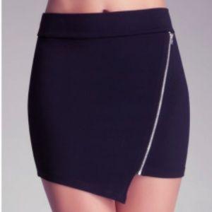 Bebe Asymmetric Zip Front Mini Skirt