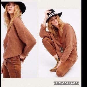 NWT Free People Irresistible Brown Fringe Sweater
