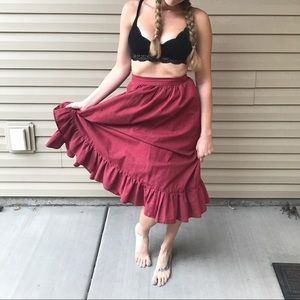VINTAGE Handmade Red Wrap Skirt