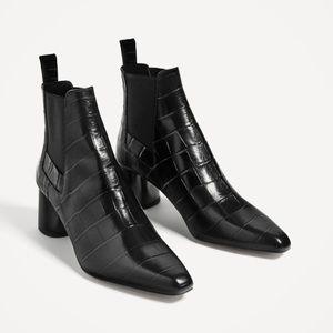 Black Patent Leather Croc Boots