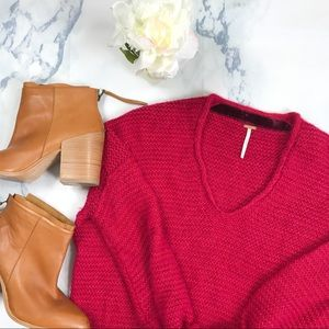 •Free People• Raspberry Knitted Sweater