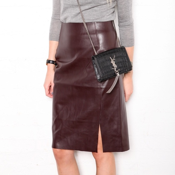 d019ec7752 LOFT Skirts | Reserved Nwt Faux Brown Leather Midi Skirt | Poshmark