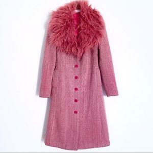 90's VINTAGE Pink Herringbone COAT w/ Faux Fur