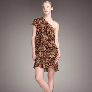 69791bd187 Rachel Zoe Ruffled Panther Print Dress Small