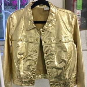 INCREDIBLE Metallic Gold REAL Leather Crop Jacket