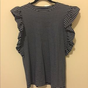 NWT banana republic striped ruffle sleeveless top