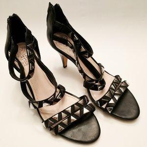 Vince Camuto Black Leather Sandals, Sz 8.5/38.5