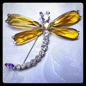 Jewelry - New Dragonfly Large Crystal Brooch/Pin
