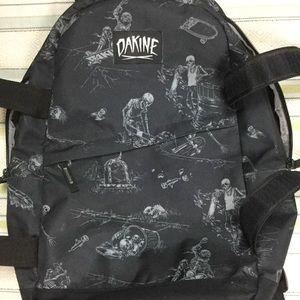 DAKINE Skateboard Backpack Black Skeleton Print