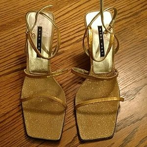 Strappy Gold Nine West Evening Shoes