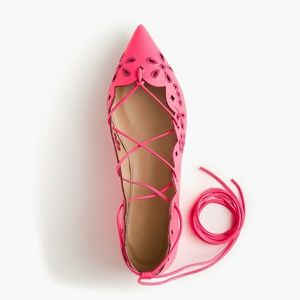J crew leather lace up eyelet flats neon pink 5.5