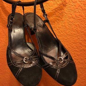 Cole Hann black strapped heels, size 7