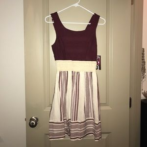 Maroon and white dress New with Tags
